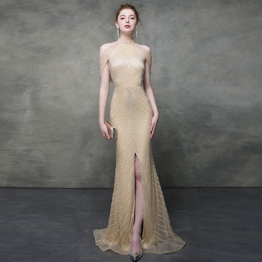 Gold Crystals Mermaid Evening Dresses Long 2019 Formal Gown Dress Evening Backless Slit Front MSHBLUE