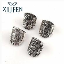 Фотография XIUFEN Bohemia Vintage Unique Carving Geometric Totem Plated Ring Set 4 Pcs zk35