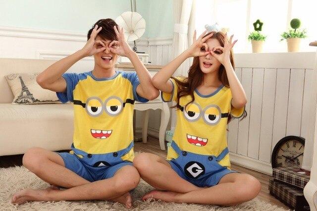 f03d270809bfe Couples Despicable Me Minions print pajamas, Lovely Lovers cartoon minion  pyjamas, Women and Men's cotton sets