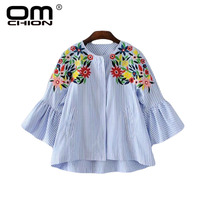 OMCHIONBlusas Mujer De Moda 2017 O Neck Floral Embroidery Blouse Long Sleeve Blue Striped Women Shirt