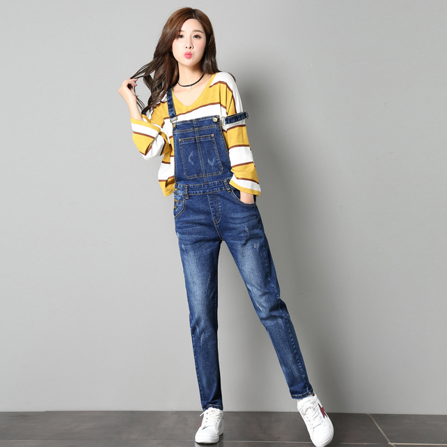 079d7173948c New Arrival Spring Autumn Jumpsuits Jeans Preppy Style Women Jumpsuit Denim  Overalls Casual Rompers Girls Pants Jeans