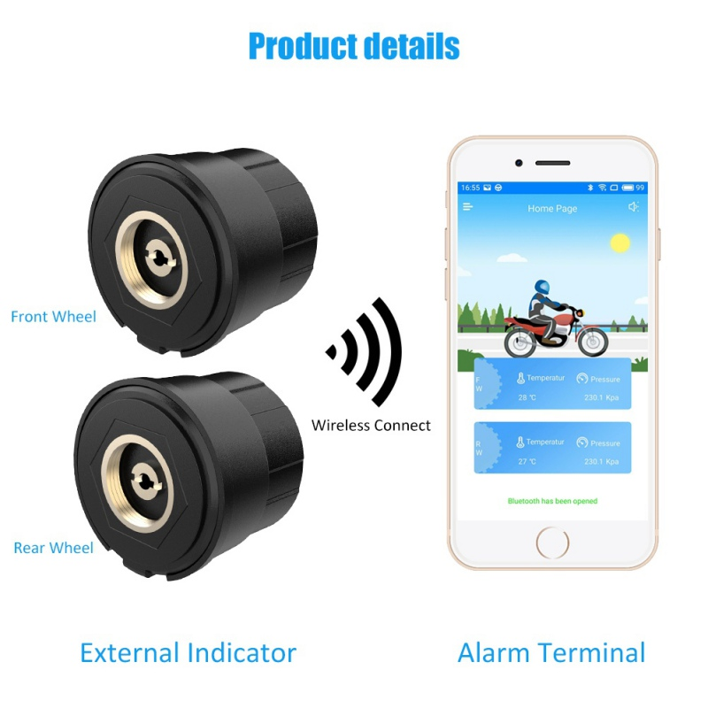 Motorcycle Tpms Tyre Pressure Monitoring System Bluetooth Monitoring System TPMS Mobile Phone APP Detection External Sensor Auto
