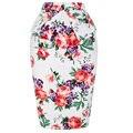 Saia lápis Mulheres 2016 Elegante Midi Floral Polka Dot Impresso Casual Saias Bandage Retro Senhoras Do Vintage Saia de Cintura Alta Verão