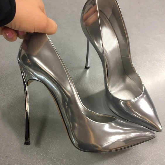 ae99bead1d7 Plus Size 43 Designer Shoes Ladies Pumps Patent Leather Slip On Blade Stiletto  High Heels Office Party Wedding Shoes Gold Silver