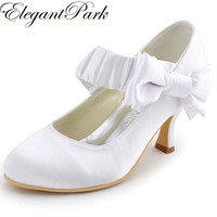 EP11119 Women White Ivory Closed Toe Bow Platform High Heel Bride Bridesmaids Satin Pumps Lady Wedding