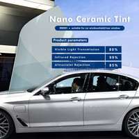 Super High Transparency VLT80% Car Window Tint Film Light Blue Nano Ceramic Window Protection Film 60X16.5' (1.52mx5m) IR8085