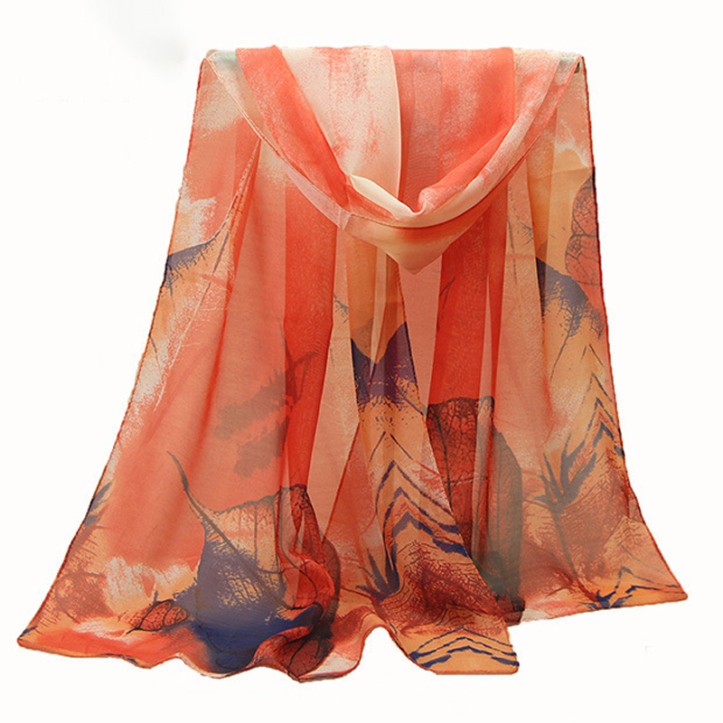 C High Quality Scarf For Ladies Fashion 2018 New Arrive Women Chiffon Scarf Maple Leaf Silk Scarf Moderate Softness Super Softne