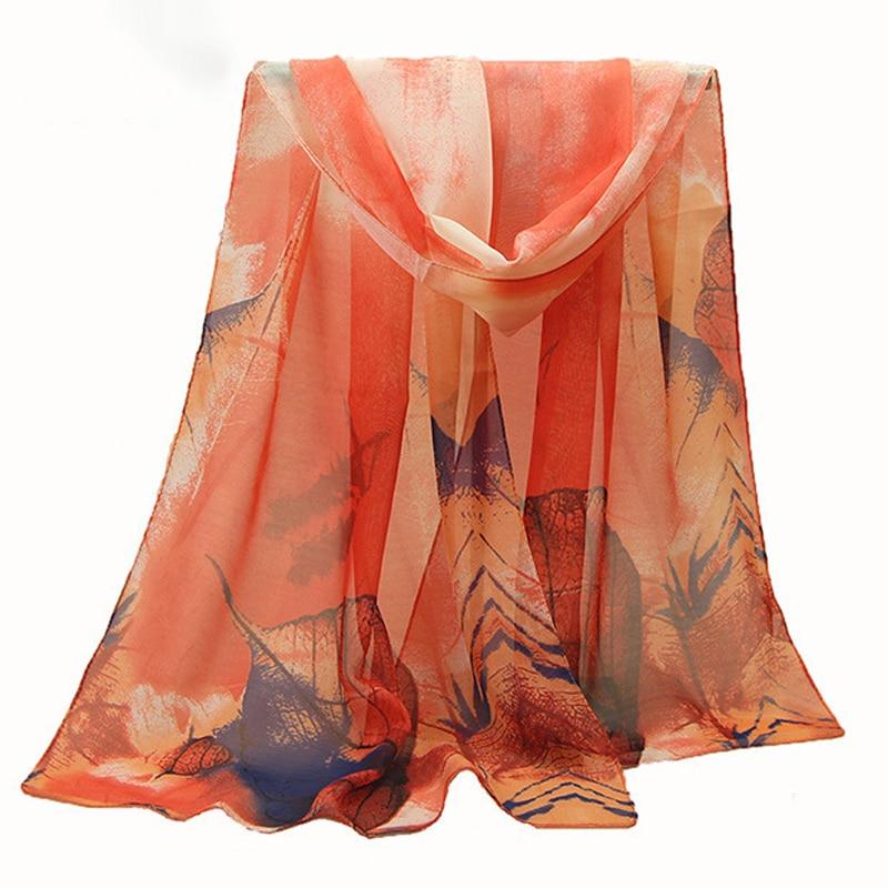 C High Quality Scarf For Ladies Fashion 2018 New Arrive Women Chiffon Scarf Maple Leaf Silk Scarf Moderate Softness Super Softne