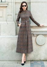 Women Coat Plaid Long Silm Woolen Winter Overcoat 2018 Coats