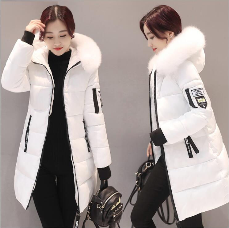 2018 Women Hooded Warm Wadded Coat Winter Jackets Big Fur Collar Slim Mid-Long Fashion Thick Down Cotton   Parka   Female Plus Size