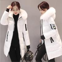 2018 Women Hooded Warm Wadded Coat Winter Jackets Big Fur Collar Slim Mid Long Fashion Thick Down Cotton Parka Female Plus Size