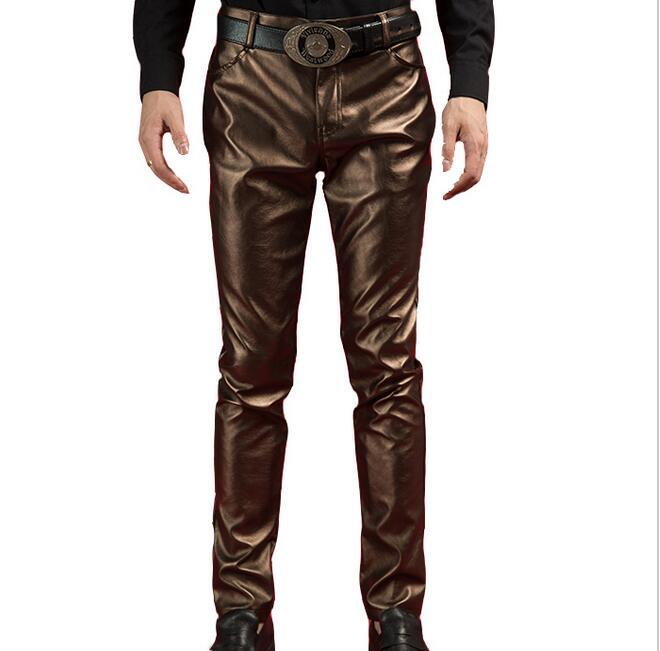 Estrella Trajes Cantante Tendencia Más Masculinos 2016 Delgado Nueva Del 40 Cuero Dj Marrón Moda 28 De Ropa Pantalones Tamaño Los Estilo AaUPB78q