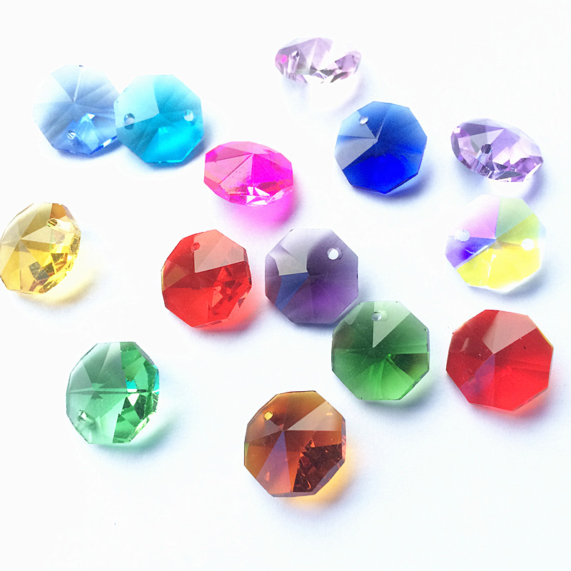 Wholesale Price 2000pcs lot 14mm Miexed Color K9 Crystal Glass Octagon Chandelier Beads in One Hole
