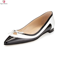 Original Intention New Concise Women Flats Pointed Toe 4 Seasons Flat Shoes Elegant Black and White Shoes Woman Plus Size 4 15