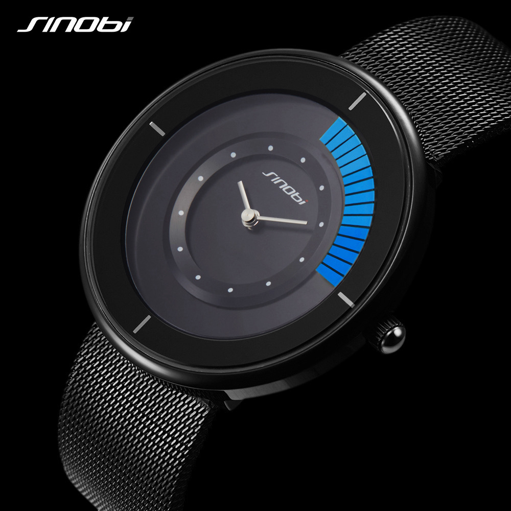SINOBI Top Luxury Brand Quartz Wrist Watch Men Black Casual Stainless Steel Mesh Strap Ultra Thin Clock Male Relogio Masculino biden men s watches new luxury brand watch men fashion sports quartz watch stainless steel mesh strap ultra thin dial date clock