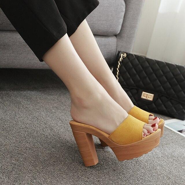 platform shoes high heel slippers women mules brand slipper