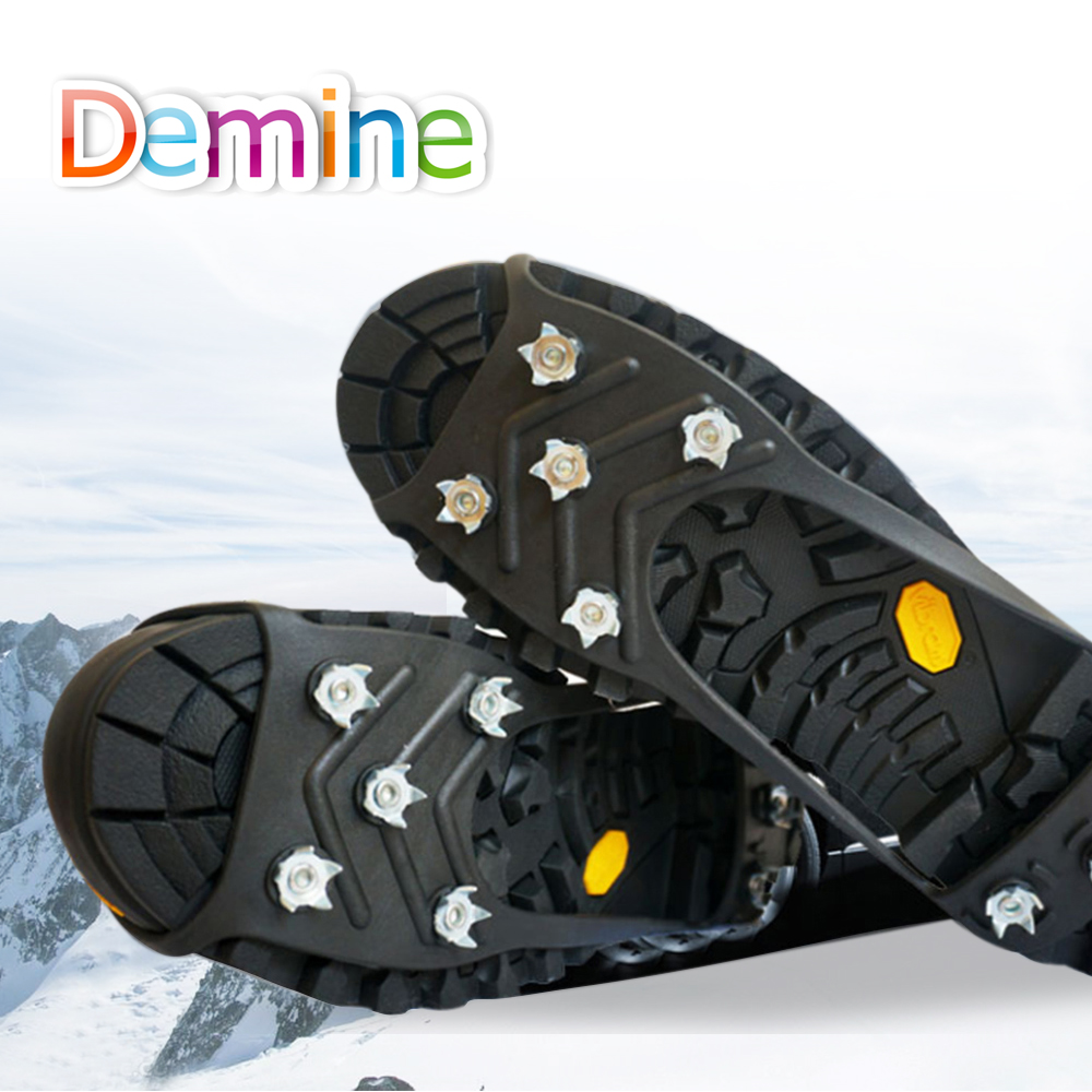 Demine 8-Teeth Crampon Sports Anti-Slip Ice Gripper Cleats Shoe Crampon Chain Snow Spike Glace Snow Winter Safety Tool Hiking
