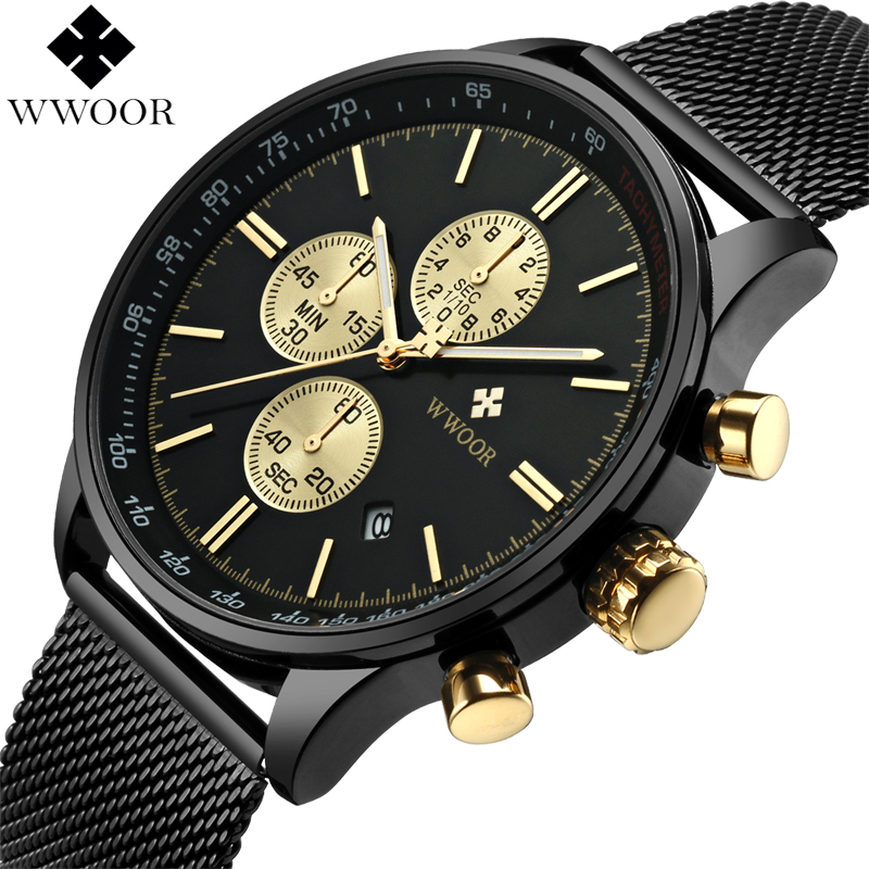 WWOOR Mens Watches Waterproof Stainless Steel Sport Quartz Watch Men Top Brand Luxury Casual Watch Male Clock relogio masculino цена и фото