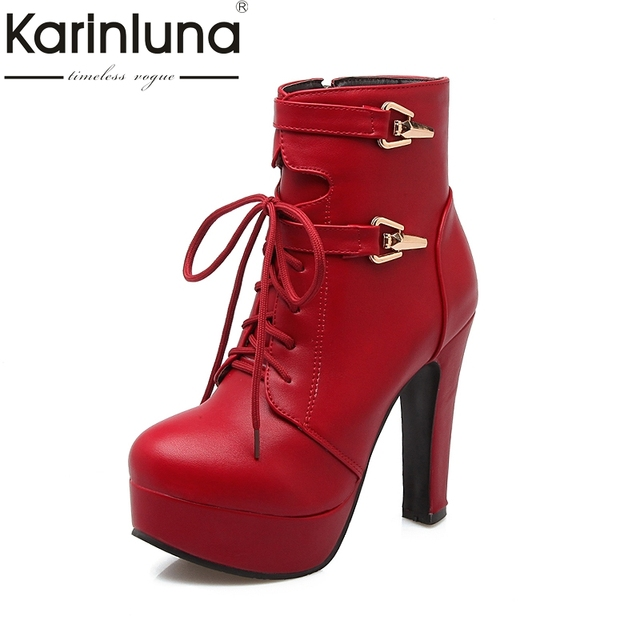 KARINLUNA 2018 büyük Boy 33-43 yarım çizmeler Kadın Ayakkabı Platformu Moda süper yüksek topuklu tokaları kadın ayakkabı kürk ekleyin siyah kırmızı