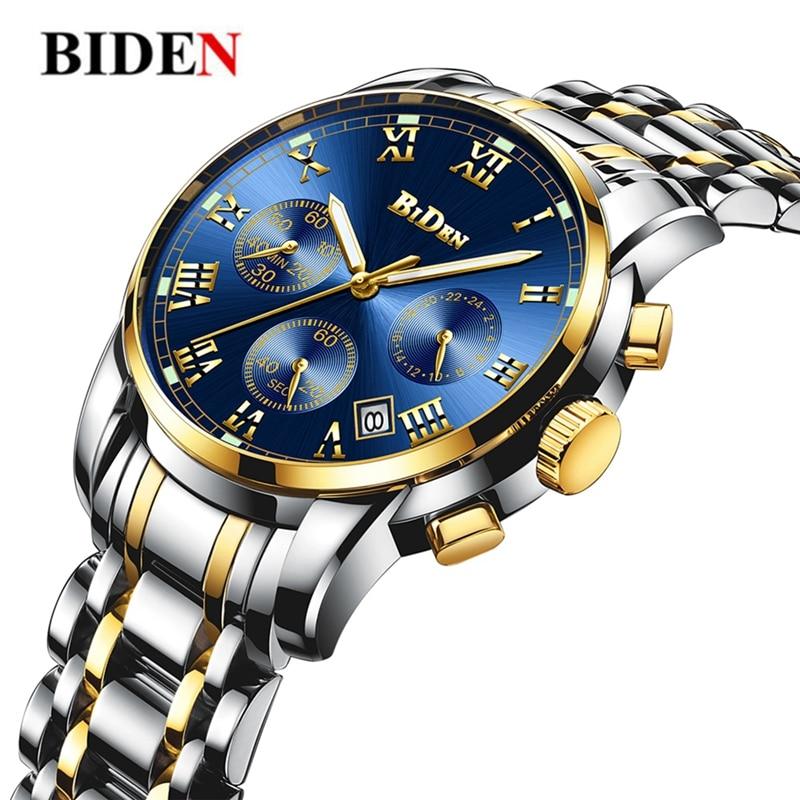 Luxury Men's Watches BIDEN Quartz Watch Brand Men Full Stainless Steel Wrist Unique Business Aviator Watches Men Clock Man Gifts все цены