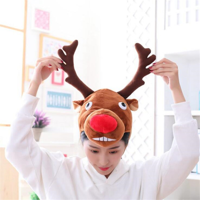 Cartoon Elk Hat Cosplay Costumes Accessories Cap Plush Toy Doll Wapiti Head Fancy Cap Take Photos Halloween Christmas
