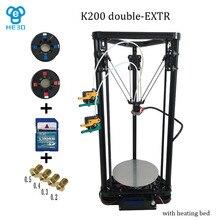 He3D высокое качество Двойной Экструдер с тепло кровать дельта K200 reprap 3d принтер 3d принтер DIY kit-поддержка мути материал