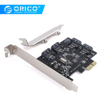 ORICO 4 Port SATA3.0 PCI E Expansion Card PCI E X1 to SATA3.0 Add on Card Compatible with PCI E X1,X4,X8,X16 Support 6Gbps