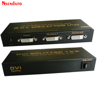 Nsendato 1X2 DVI Splitter 1*2 with Dual link DVI-D 4K 2K 1 input 2 output 30Hz Video 2 Port DVI splitter With Power Adapter