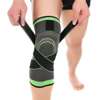 Knee Compression Sleeve Pad with Adjustable Strapping for Pain Relief Arthritis Injury Running Joint Pain Weigifting Support