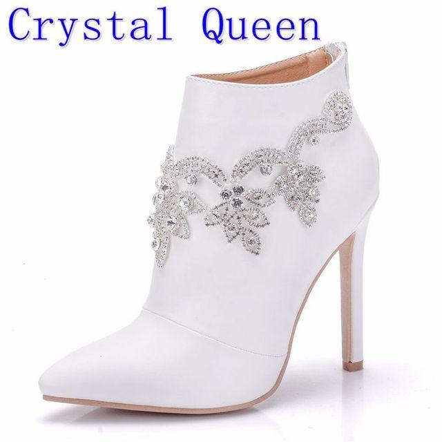 Bottines pour femmes, chaussures à la mode Crystal Queen, chaussures pour équitation de mariage, Sexy à talons hauts, avec fermeture éclair