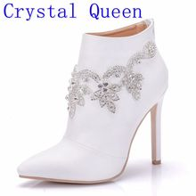 Crystal Queen Fashion Women High Qulaity Ankle Boots Shoes Sexy High Heels Zipper Shoes Woman Party Wedding Riding Boots