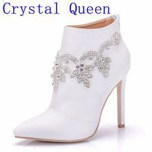 Kristal Kraliçe Moda Kadınlar Yüksek Kalite yarım çizmeler Ayakkabı Seksi Yüksek Topuklu Fermuar Ayakkabı Kadın Parti Düğün binici çizmeleri