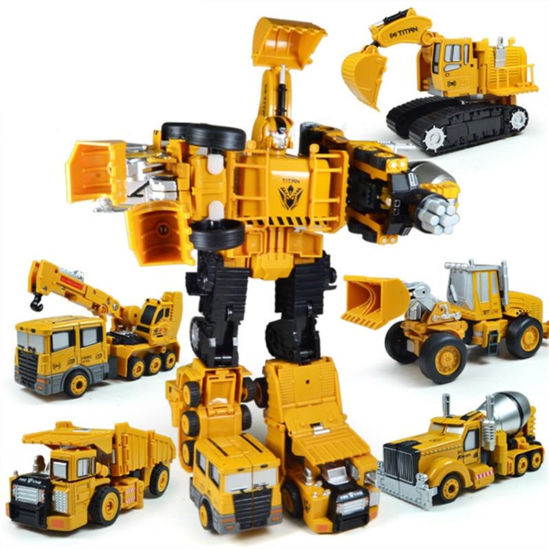 Nuevo 5 en 1 de gran tamaño 28 CM juguetes de transformación de aleación de Metal destructor de coches Robot Combiner gancho excavadora de ingeniería camión chico regalo-in Figuras de juguete y acción from Juguetes y pasatiempos    1