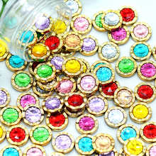 11mm 30PCS Mixed Color Round Acrylic Rhinestone Button Cabochons|Scrapbooking Embellishments Buttons|DIY Crafting Supplies