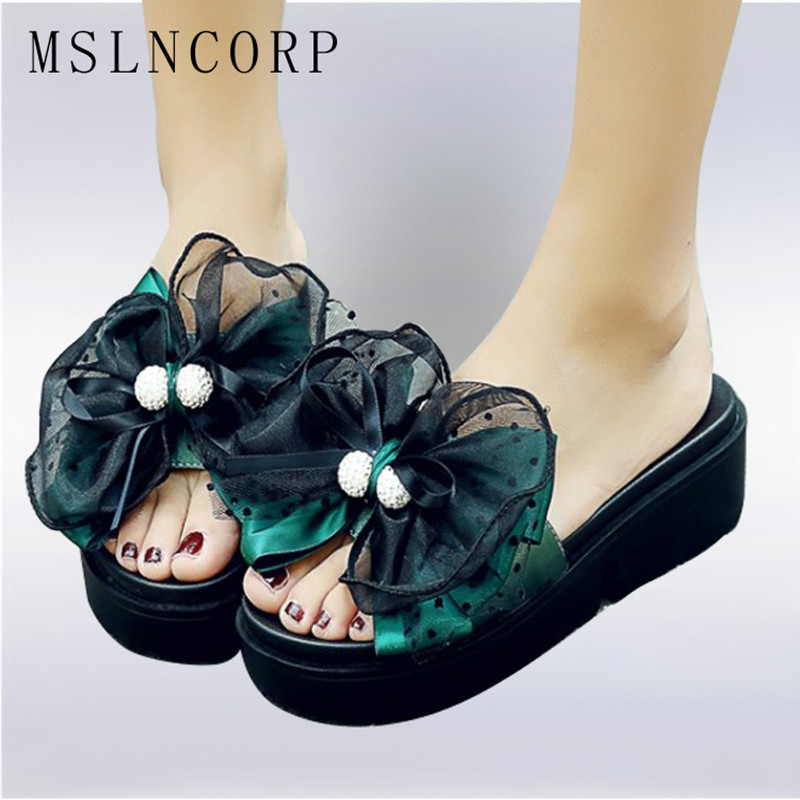 plus size 34-44 Fashion Women Summer Slippers Pearl Floral Style Beach Shoes Woman Platform Sandals Slides Slip On Casual Shoes bohemia plus size 34 41 new fashion wedges sandals slip on elastic band casual platform shoes woman summer lady shoes shallow
