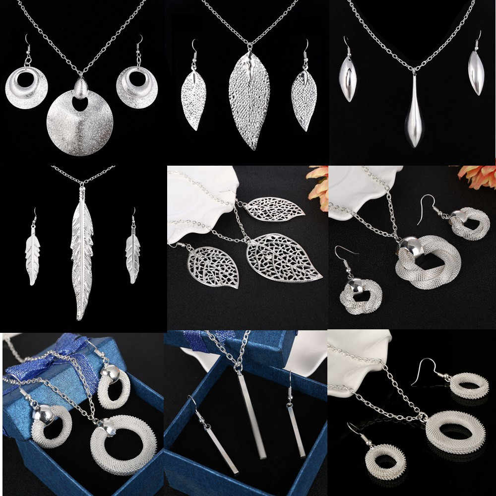 Fashion Silver Jewelry Sets Pendant & Necklaces Drop Earrings For Women Sets Free Shipping Jewelry Sets Wedding Party Set
