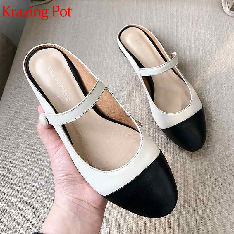 Krazing Pot 2019 genuine leather vintage slip on round toe women flats mules women mixed color