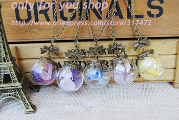 30spcs/lot Preserved Flower Glass orbs Pendant necklace  dry flower glass vial pendant necklace antique bronze necklace