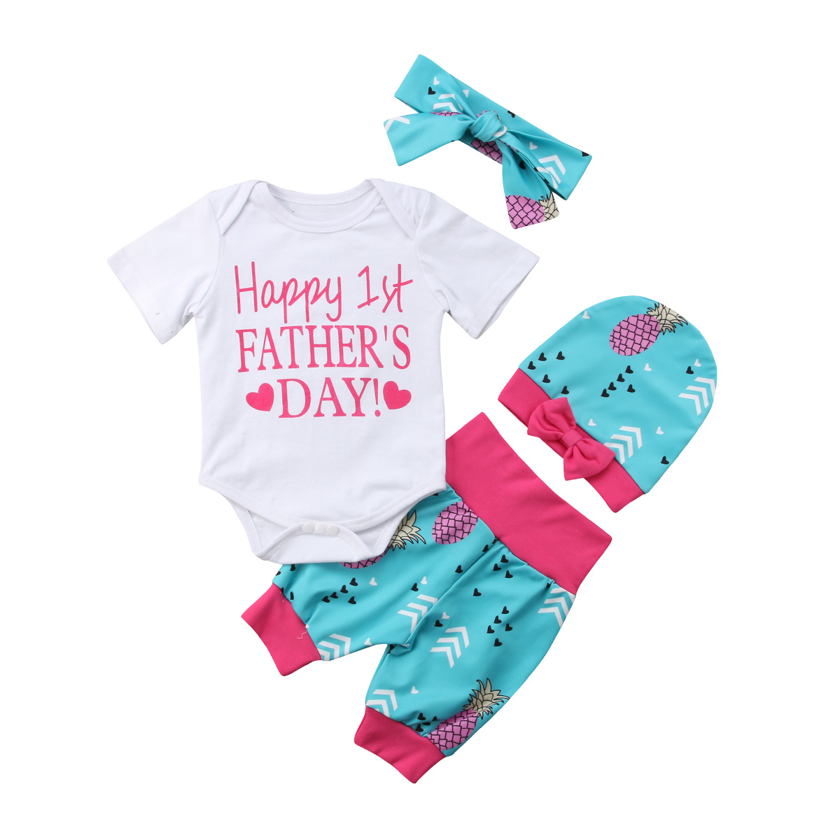 Cute Baby Happy 1st Fathers Day Baby Girl 4Pcs Outfits Romper Long Pants Hat Headband Clothes 2018 Hot Sale