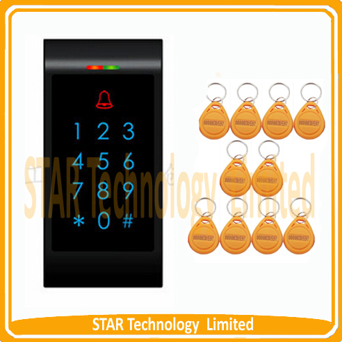 ФОТО Free Shipping 1000 users Proximity 125Khz EM Card entry door lock rfid access control system + 10 Keys(yellow keyfobs)