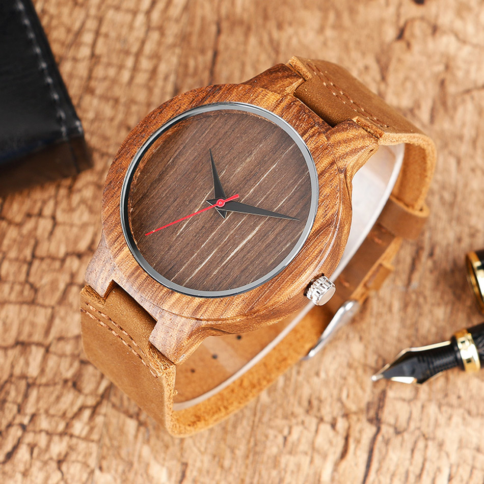 Creative Wood Watch Male Wristwatches Wooden Clock Men's Bamboo Leather Wood Watches Gift relogio de madeira (5)