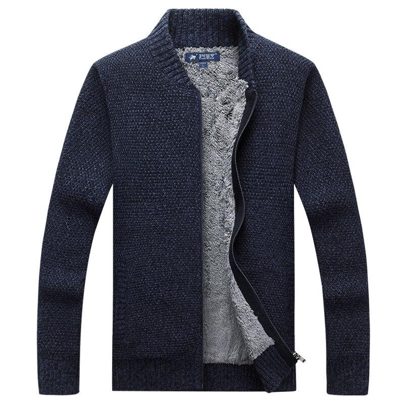 2018 Hommes de Chandails D'hiver Super Chaud Cachemire Laine Zipper Pull Chandails Homme Casual Tricots Épaississement Cardigan Vestes