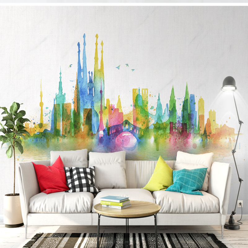 3D Wallpaper Modern Murals Non-Woven Wallpaper City Reflection Unique Colorful TV Background 3D Wallpapers for Lobby Wall Murals sunflower 3d wallpapers 3d wall murals non woven fabric eco friendly durable entrance hallway 3d stereoscopic wallpapers decor
