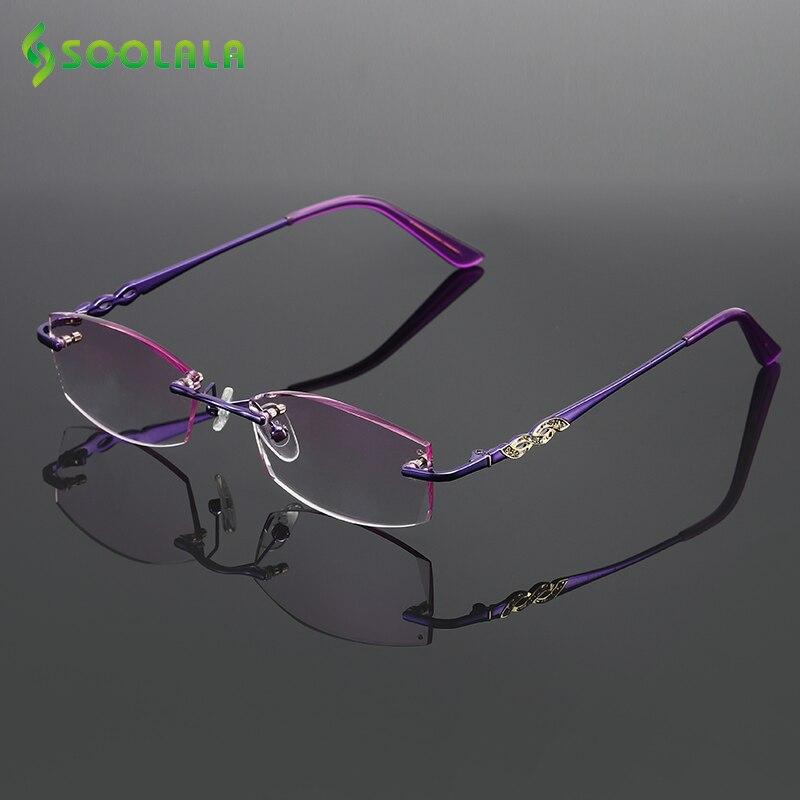 SOOLALA Rhinestone Reading Glasses Diamond Cutting Coated Titanium Alloy Rimless Gradient Presbyopic Reading Glasses Women Men