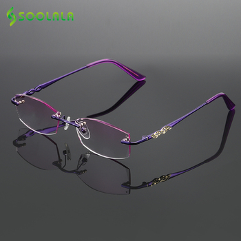 SOOLALA Rhinestone Reading Glasses Diamond Cutting Coated Titanium Alloy Rimless Gradient Presbyopic Women Men