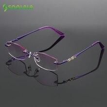 SOOLALA Rhinestone แว่นตาตัดเพชรเคลือบไทเทเนียม Rimless Gradient Presbyopic แว่นตาอ่านผู้หญิงผู้ชาย