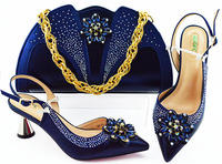 2019 Newest style Dark blue African shoe and bag set high heel italian shoe with matching bag best selling ladies
