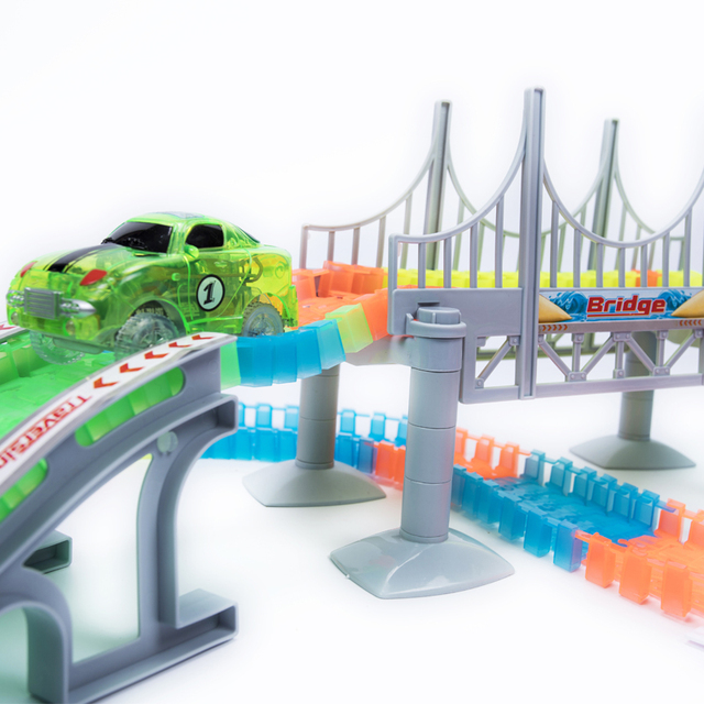 Magical Track 240PCS Set Magical Glowing Race Tracks Set Flexible Racing track Bridge Car Toy Creative