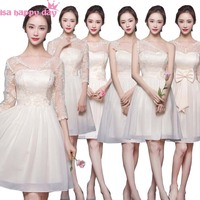 fashinable hot and sexy champagne neckline new in short bridesmaid dresses for party from china modest formal gowns teens H3606