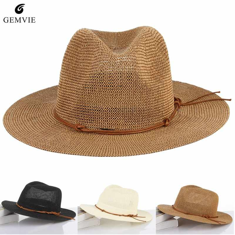 8e8d58a50fc Detail Feedback Questions about Breathable Hollow Out Big Large Brim Men Straw  Hats Beach Sun Hat Adjustable Jazz Fedora Cap Male Summer Panama Hats on ...